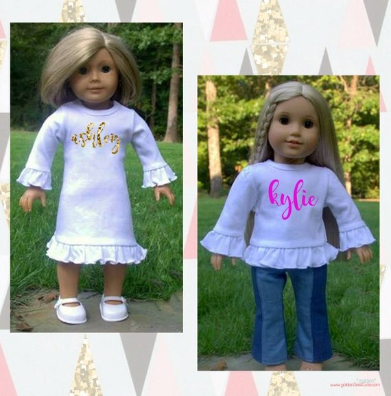 CYBER MONDAY SALE!  American Girl, 18 inch Doll Heat Transfer Name Tee or Dress, Custom, Personalized, Initial