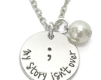 Inspirational Disk Necklace- My Story Isn't Over-Freshwater Pearl