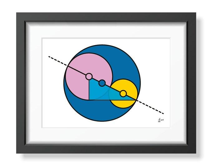 Golden Ratio Circles 03 [mathematical abstract art print, unframed] A4/A3 sizes