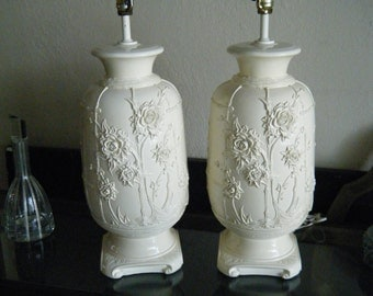 Pair Of Ceramic Chinese Asian Raised Flowers Faux Bamboo Table Lamps