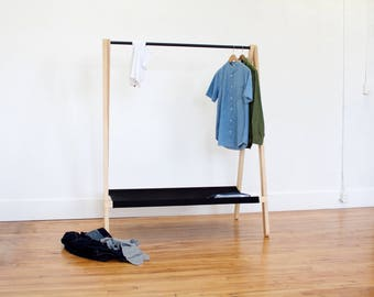 Modern Solid Wood Clothing Rack | Clothes Rack with Shelf