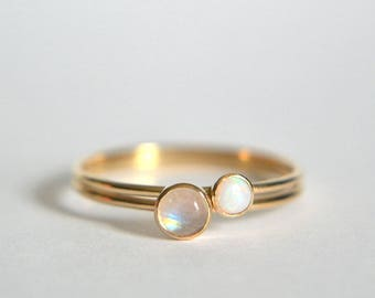 14k Solid Gold Set of Two Moonstone Rings, 14k Gold Moonstone Ring, 14k Gold Opal Ring, Dainty Ring, Stackable Ring, Stacking Ring