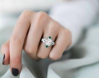 Art Deco Old European Cut Diamond and Emerald Engagement Ring | Josephine