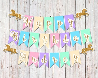 Unicorn Party Banner, Unicorn First Birthday, 1st Birthday Party, Party Decorations, Birthday Banner, Unicorn Party Decorations, Pink & Gold
