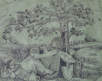 Debbie Mumm Toile Fabric 54 inches wide Out of Print HTF Green