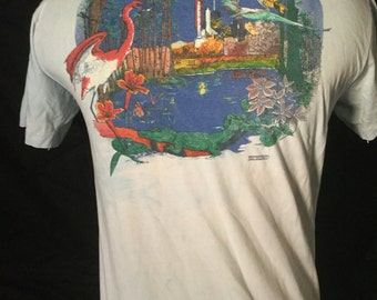 Vintage 1980's Florida Tourist T-Shirt Great Color Made in USA Thin and Soft