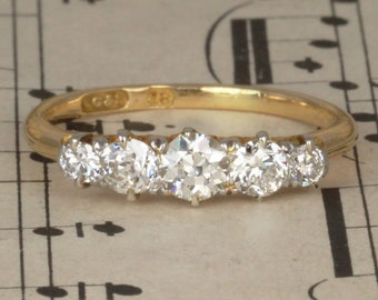 Victorian Old Cut Diamond 5 Stone Engagement Ring, Vintage Antique Ring with Engraving in 18ct Yellow Gold Circa 1880