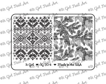 "IG304 Nail Art ""Mini"" Stamping Plate - fairisle, sweater, winter, pine, evergreen, pine cone, branch"