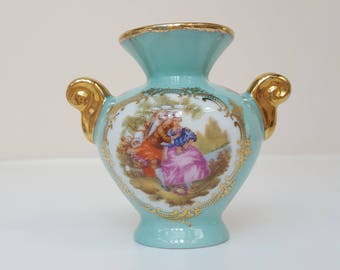 Limoges Miniature Ewer Vase, Aqua Blue and Gold, Romantic Fragonard Decoration, Courting Couple,  Valentine Gift, Gift for Her