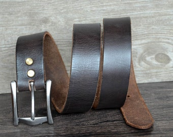 Mens Belt,Leather Belt,Soft Leather Belt,Full Grain Belt,Distressed Belt,Blackish Brown