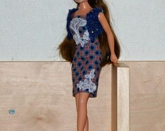 Blue coat -Barbie - handmade- knit-monster high-fasion royalty
