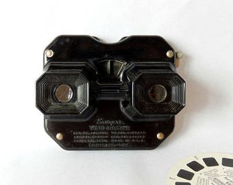 Sawyers View Master, 1940s vintage, black bakelite, brass lever, collectible