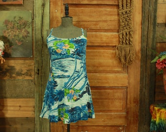 CLEARANCE vintage1980s blue water floral hawaii babydoll slip sun dress S M