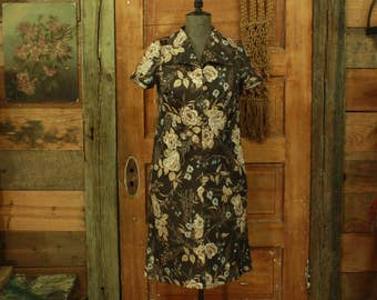 CLEARANCE vintage 1960s handmade brown & tan roses floral print shift dress S