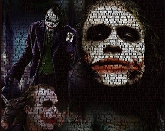The Joker Collage Poster - Heath Ledger - Batman, The Dark Knight