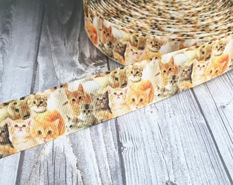 Kitten ribbon - Meow ribbon - 1 inch ribbon - Grosgrain - I love kittens - Kitten birthday party - Adopt a cat - DIY cat bow - I love cats
