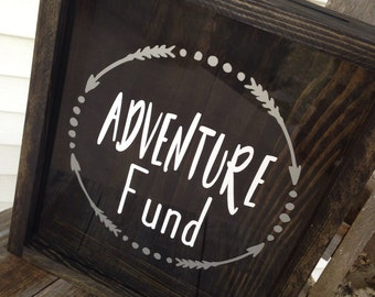 Adventure fund-Shadow Box-Mr and Mrs-Newlywed Gift-Money Box-Donation Box-Mothers Day Gift-Gift for Him-Gift for Her-Wedding Shadow Box