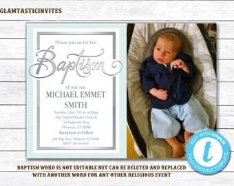Baptism Invitation Boy, Baptism Invitation Printable, Boy Baptism Invitation, Printable Baptism Invitation, Template, INSTANT DOWNLOAD, DIY