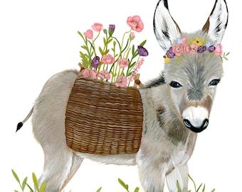 Poppied Donkey • Illustration Print