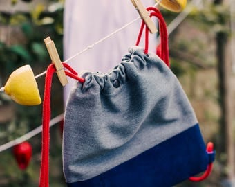 Children's rucksack, cotton and cork, upcyled and handmade in London