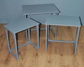 Retro Up-Cycled Painted & Waxed Nest of Three Stacking Occasional Tables