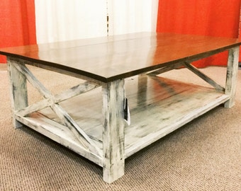 two tone farmhouse coffee table x frame table living room table rustic coffee table rustic home furniture bt2 8 rustic wood furniture