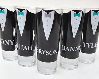 Set of 2 - Groomsmen Gift Ideas - Groomsmen Shot Glasses with Bow ties - Groomsman Shooter Gift - Shot Glasses For Him - Gifts For Him