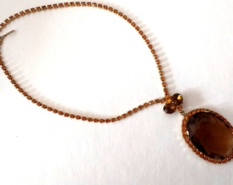 Vintiage Root beer and amber rhinestone choker necklace