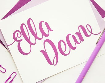 Personalized Stationery - Set of 10 // Calligraphy Stationery // Stationery For Her // Girl's Stationery // Folded Note Cards Set