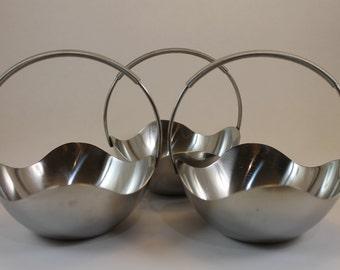 Lot of 3 Vintage Selandia Denmark 18/8 Stainless Steel Basket