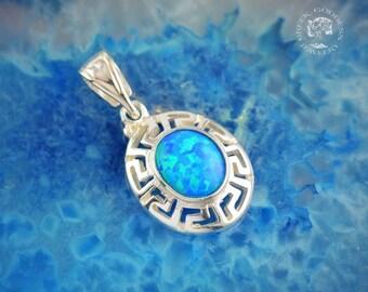 greek key opal silver pendant, greek key pendant, blue opal pendant, opal pendant, greek pendant, greek jewelry, meander pendant, greek