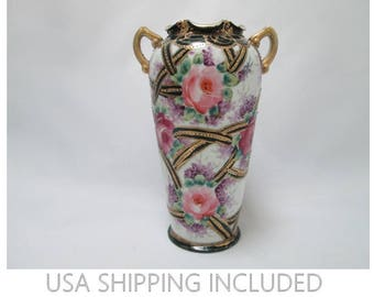 Antique Nippon Vase Maple Leaf Mark Hand Painted Roses Beaded      and Gilded