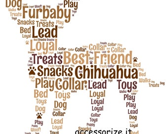 A4 or 5x7 Size Personalised Chihuahua Dog Word Art Print -  Pet Memorial *Digital File Also Available*