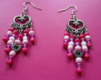 Dangling Heart Multi-Color Pink Earrings