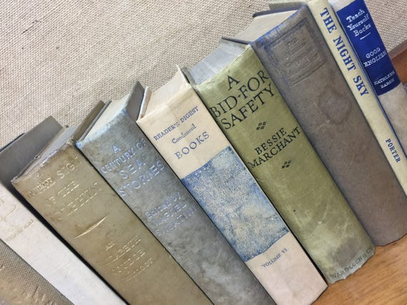 GREY CREAM TAUPE  Vintage Book Collection - Grey Home Decor - Old Books Decoration - Foot Long 9 Shelf Staging - Vintage Book