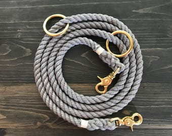 SALE 10% OFF! Single Color Dog Leash and Dog Collar, All-in-One Dog Leash, Rope Dog Leash, Ombre Dog Collar, Hands Free Dog Leash