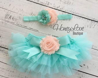 SET Mint/Aqua tutu skirt bloomers diaper cover, peach flower headband satin bow, ruffles all around, newborn infant toddler little baby girl