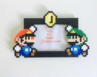 Mario Brothers Picture frame-Mario Birthday Party-Geeky Home Decor- Nerdy Home Decor-Supermario Picture Frame