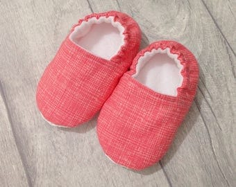 Pink baby shoes, soft sole baby shoes, baby slippers, baby booties