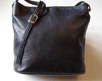 TEXIER/blue leather bucket bag dark Texier/Texier vintage 80 s