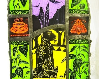 The Nettle Harvest - A4 Stained Glass Art Panel