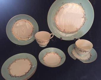 Discontinued Homer Lauglin Lifetime China Semi- Vitreous, Alliance, Ohio, Gold Crown  6 pc Setting PLUS extra pieces