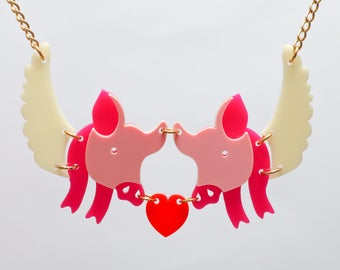 Womens jewellery, Acrylic pig necklace.