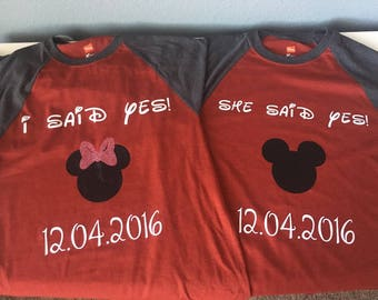 Disney engagement shirts! // I said yes // she said yes // mickey and minnie // matching shirts