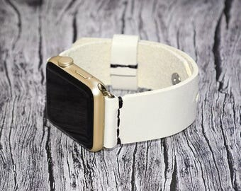 Apple watch band leather // White leather apple watch accessories 38mm / 42mm - apple watch strap leather - lugs adapter - iwatch band women