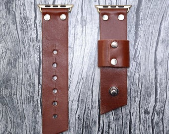 Brown leather apple watch band 38mm / 42mm // apple watch strap accessories - lugs adapter - iwatch band gold - iwatch strap