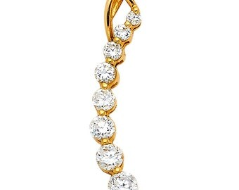 14k Solid Yellow Gold 0.35 Ct Diamond Love Journey Pendant Charm for Necklace 1.2 gr