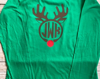 Christmas in July; Womens Monogram Shirt; Reindeer Shirt; Womens Christmas Top; Long Sleeve Reindeer Shirt