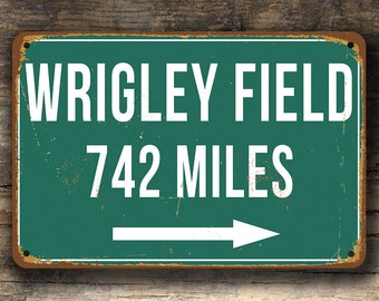 PERSONALIZED WRIGLEY FIELD Distance Sign, Wrigley Field Stadium, Wrigley Field Miles, Personalized Cubs, Cubs Gifts, Cubs Sign, Custom Cubs