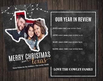 Merry Texas Christmas Card 2 Sided Photo Holiday/Christmas Card (55)